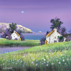 Blue Moon Dawn by John Mckinstry - Original Painting on Stretched Canvas sized 16x16 inches. Available from Whitewall Galleries